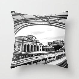 Union Station // Train Travel Downtown Denver Colorado Black and White City Photography Throw Pillow