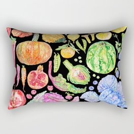 Rainbow of Fruits and Vegetables Dark Rectangular Pillow