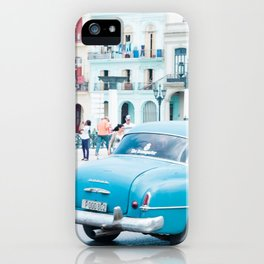 Colorful Blue Car in Old Havana Cuba iPhone Case