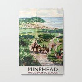 Minehead Vintage Travel Poster Metal Print
