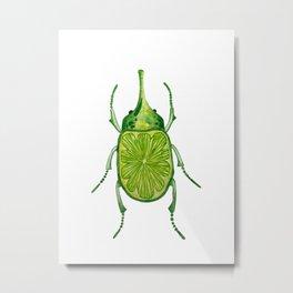 Lemon Lime Beetle Bug Metal Print