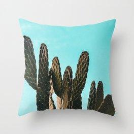 Cactus Photography Print {1 of 3} | Teal Succulent Plant Nature Western Desert Plants  Design Decor Throw Pillow