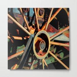 Color Tractor Wheel Metal Print