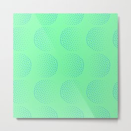 Blue Dot Circles on Green Background Metal Print