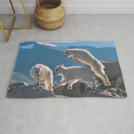 Kids - Mountain Goats with Rocky Mountains View  Rug