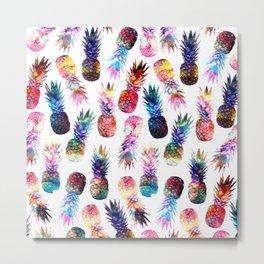 watercolor and nebula pineapples illustration pattern Metal Print