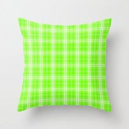 Bright Neon Green and White Tartan Plaid Check Throw Pillow