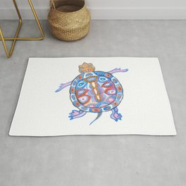 Sea Turtle - Aqua Blue Palette | Folk design Rug