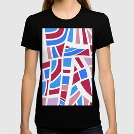 Broken Pink And Blue Abstract T-shirt
