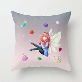 Sewing's fairy Throw Pillow