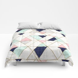 Mod Triangles - Navy Blush Mint Comforters
