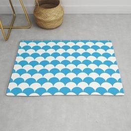 Blue Fan Shell Pattern Rug