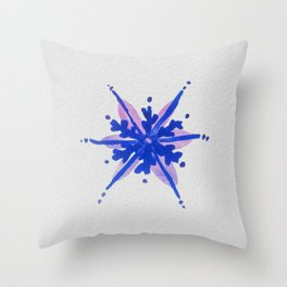 WATERCOLOR SNOWFLAKE - blue and purple palette Throw Pillow