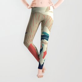 Abstract big waves of ocean and island at sunset landscape Leggings