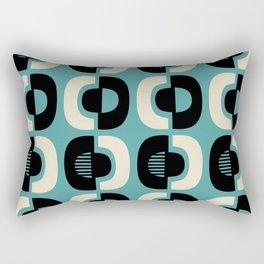 Retro Mid Century Modern Pattern 114 Black Beige and Turquoise Blue Rectangular Pillow