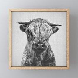 Highland Calf - Black & White Framed Mini Art Print