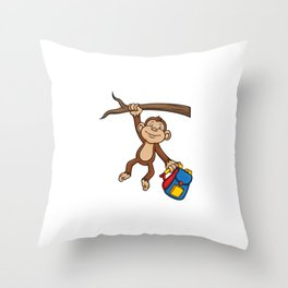 Cute Monkey School Kindergarten Christmas Gift Throw Pillow