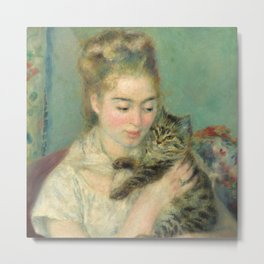 Woman with a Cat Oil Painting by Auguste Renoir Metal Print