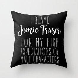 High Expectations - Jamie Fraser Black Throw Pillow