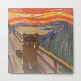 Raccoon in The Scream Art Painting Parody by Edvard Munch Metal Print