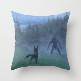 Shepherd and his faithful dog Throw Pillow