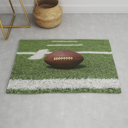 American Football Court with ball on Gras Rug