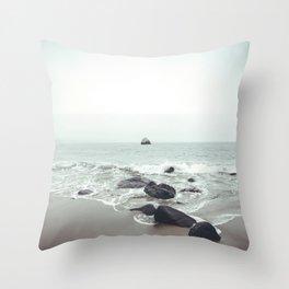 Coastal Waves Beach Ocean Sea Vintage Landscape Photography Throw Pillow