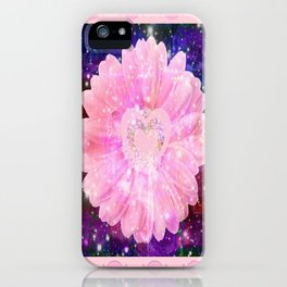 Pink flower with sparkles  iPhone Case