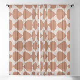 Plectrum Pattern in Clay and Putty  Sheer Curtain