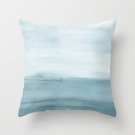 Ocean View / Minimalist Abstract Watercolor Throw Pillow