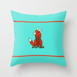 Sitting Fox Green Red Line 2017 Throw Pillow