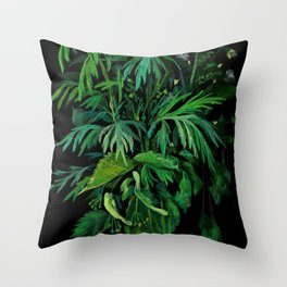 Summer Greenery, Green & Black, Floral Painting Throw Pillow