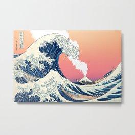 Great Wave Off Kanagawa Mount Fuji Eruption and Gradient Pink and Orange Metal Print