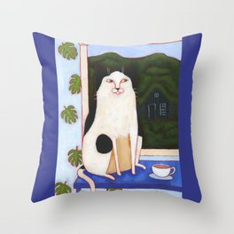 Window Cat and Turf House Throw Pillow