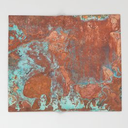 Tarnished Metal Copper Texture - Natural Marbling Industrial Art Throw Blanket