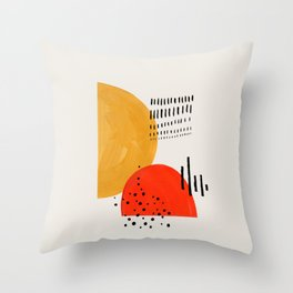 Rock & Hard Place Yellow & Orange Mid Century Modern Colorful Minimalist Shapes Patterns by Ejaaz Ha Throw Pillow