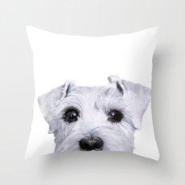 Schnauzer White Dog original painting print Throw Pillow