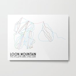 Loon Mountain, NH - Minimalist Trail Art Metal Print
