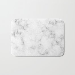 The Perfect Classic White with Grey Veins Marble Bath Mat