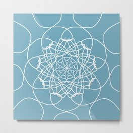 Mandala String Theory of Aqua Metal Print