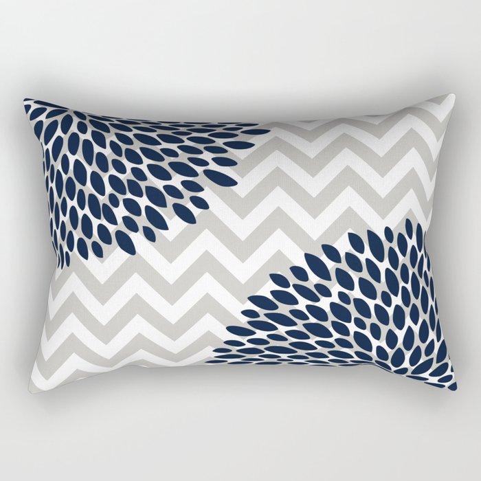 Chevron Floral Modern Navy and Grey Rectangular Pillow