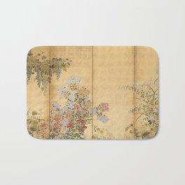 Japanese Edo Period Six-Panel Gold Leaf Screen - Spring and Autumn Flowers Bath Mat