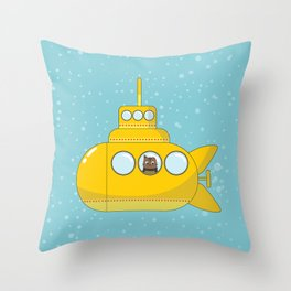 Yellow submarine with a cat and bubbles Throw Pillow