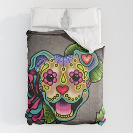 Smiling Pit Bull in Fawn - Day of the Dead Pitbull Sugar Skull Comforters