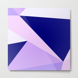 Modern geometric navy blue lilac lavender pink triangles Metal Print