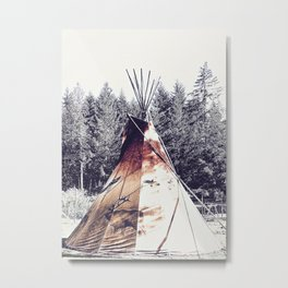 Tipi With Painted Elk And Birds Metal Print