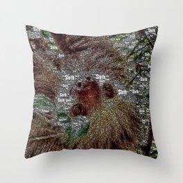 WordArt Sloth Throw Pillow