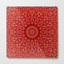 Red Geometric Bloom Mandala Metal Print