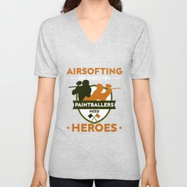 Airsofting Paintball Player Paintball Marker Gift Unisex V-Neck