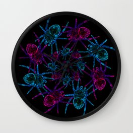 Neon spider spiral Wall Clock